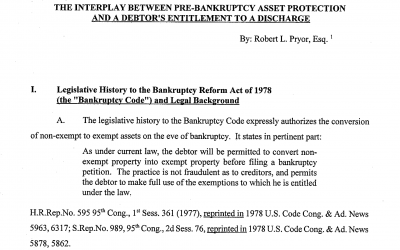 Interplay Between Pre-Bankruptcy Asset Protection And A Debtor's Entitlement To Discharge