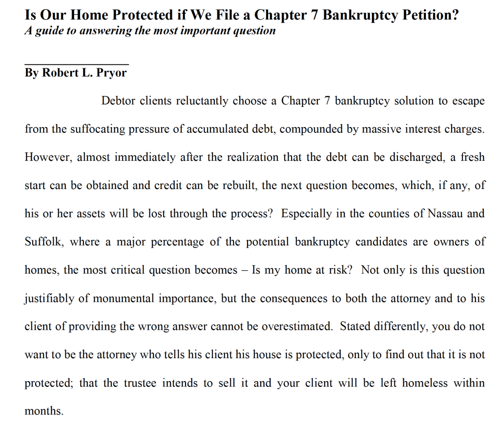Is Our Home Protected if We File a Chapter 7 Bankruptcy Petition?